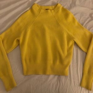 Free People Cropped Yellow Sweater